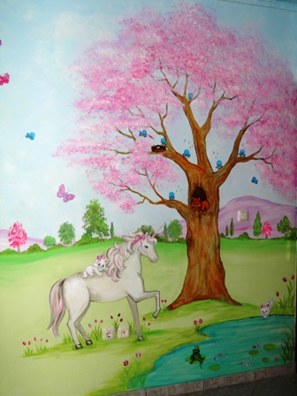 μαγικό τοπίο τοιχογραφία παιδικού δωματίου