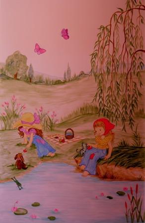 Ζωγραφική σε τοίχο παιδικού δωματίου Σάρα Κέι παιδικές τοιχογραφίες