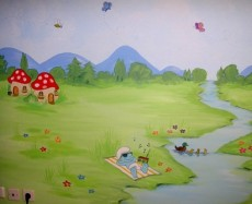 Ζωγραφικη σε τοιχο παιδικου δωματιου παιδικες τοιχογραφιες τεχνοτροπιες στρουμφακια