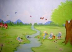Ζωγραφικη σε τοιχο παιδικου δωματιου παιδικες τοιχογραφιες στρουμφακια
