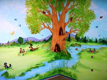 Ζωγραφική βρεφικού δωματίου με ζωάκια του δάσους