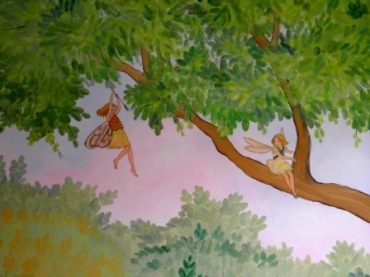 Ζωγραφικη σε τοιχο παιδικου δωματιου παιδικες τοιχογραφιες τεχνοτροπιες νεραιδες