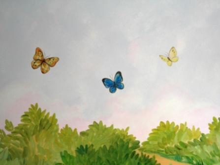 Ζωγραφικη σε τοιχο παιδικου δωματιου παιδικες τοιχογραφιες τεχνοτροπιες πεταλουδες
