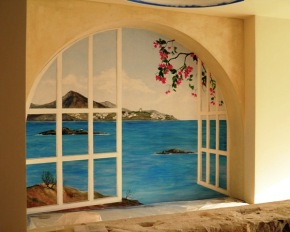 Trompe l'oeil παράθυρο με θέα στη θάλασσα