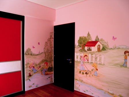 Ζωγραφική σε τοίχο παιδικού δωματίου Σάρα Κέι παιδικη τοιχογραφια