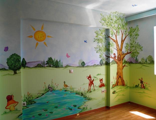 τοπίο παιδική τοιχογραφία