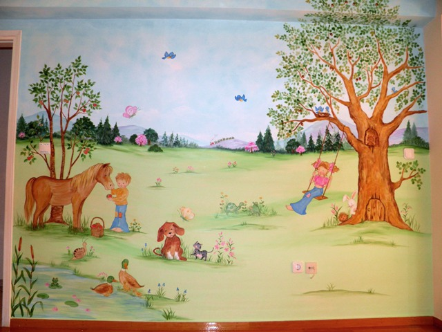χαρούμενα παιδάκια παιδική τοιχογραφία