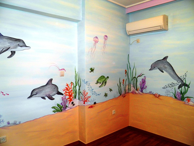 ζωγραφική παιδικού δωματίου βυθός