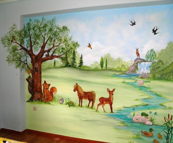ζωάκια παιδική τοιχογραφία