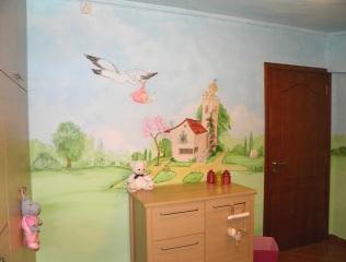 παιδική τοιχογραφία πελαργός