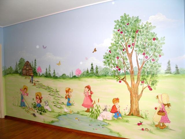 ζωγραφικη σε τοιχο παιδικου δωματιου σαρα κεη