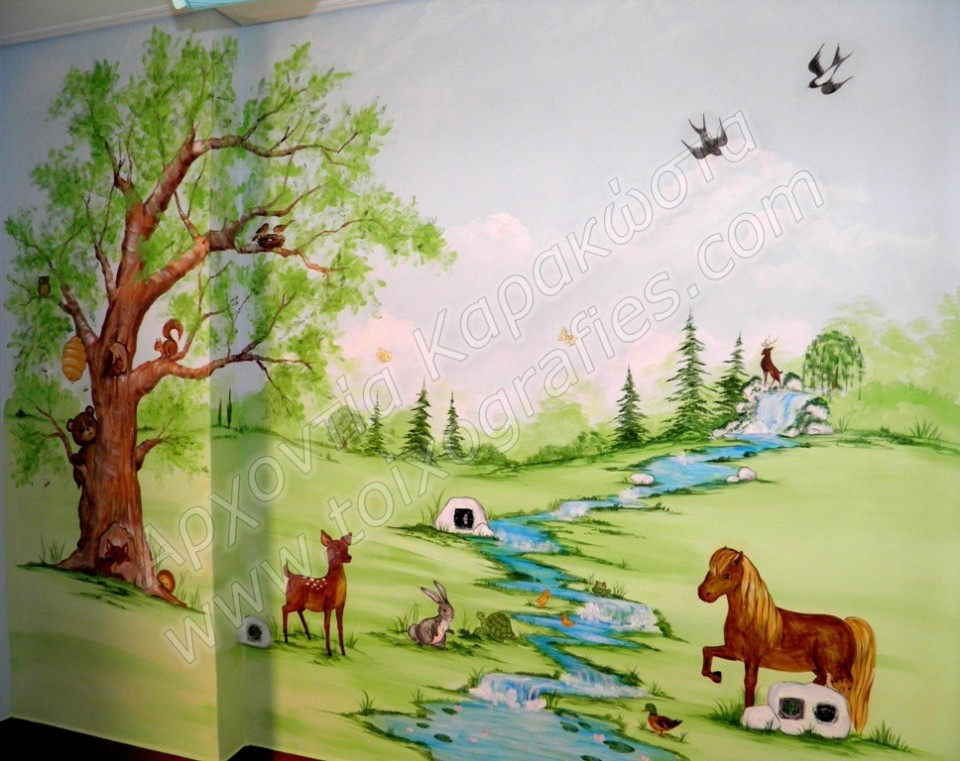 παιδικές τοιχογραφίες, ζωγραφική σε τοίχο παιδικού δωματίου