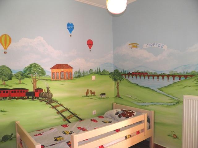 τραινακι ζωγραφικη παιδικών δωματίων παιδικές τοιχογραφίες