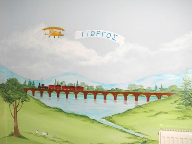 τραινακι ζωγραφικη παιδικου δωματιου ζωγραφική σε τοίχο παιδικές τοιχογραφίες
