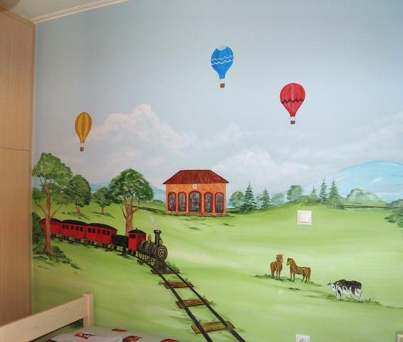 τραινακι ζωγραφικη παιδικου δωματιου παιδικές τοιχογραφίες ζωγραφική σε τοίχο