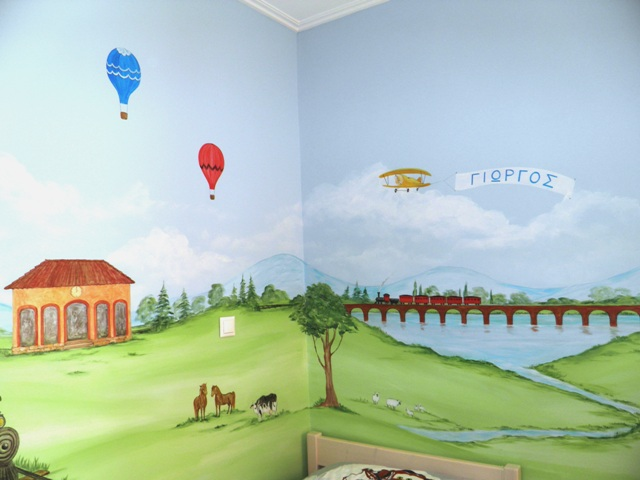 τραινακι ζωγραφικη παιδικου δωματιου παιδικές τοιχογραφίες ζωγραφικη τοίχου
