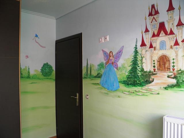 ζωγραφική παιδικών δωματίων, παιδικές τοιχογραφίες, ζωγραφική τοιχου Νεράιδα και κάστρο