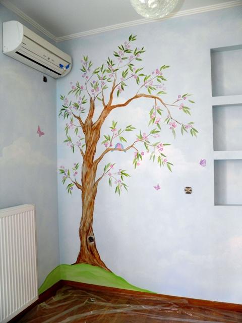 δεντρο παιδικές τοιχογραφίες, ζωγραφική παιδικού δωματίου