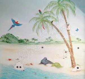 παιδική τοιχογραφία, ζωγραφική παιδικού δωματίου, θάλασσα, εξωτικό νησί