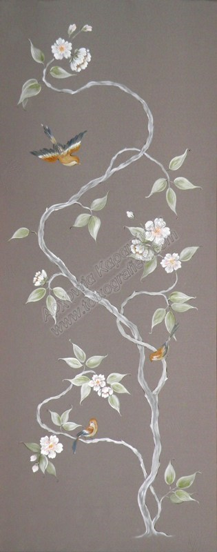 κινεζικη ζωγραφικη, τοιχογραφίες, κινέζικη ταπετσαρία, κλαδί με λουλούδια, ζωγραφική σε τοίχο