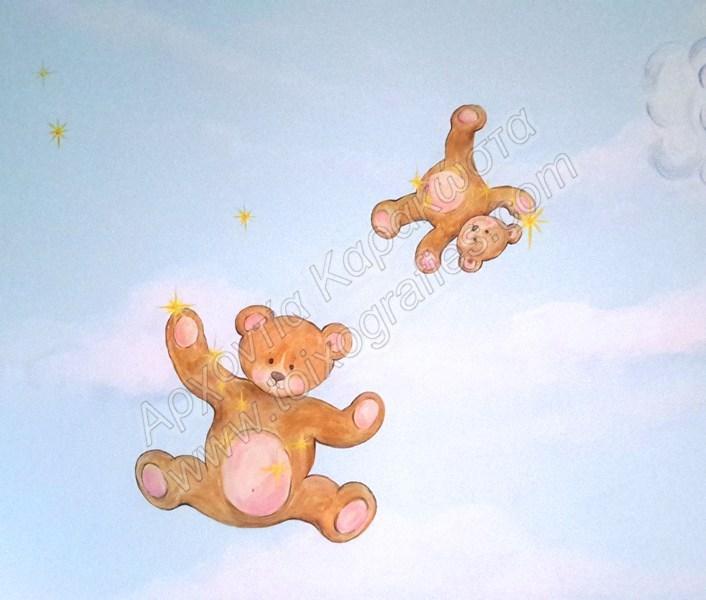 Αρκουδάκια ζωγραφική παιδικών δωματίων, παιδικές τοιχογραφίες, ζωγραφική σε τοίχο, διακόσμηση παιδικού δωματίου