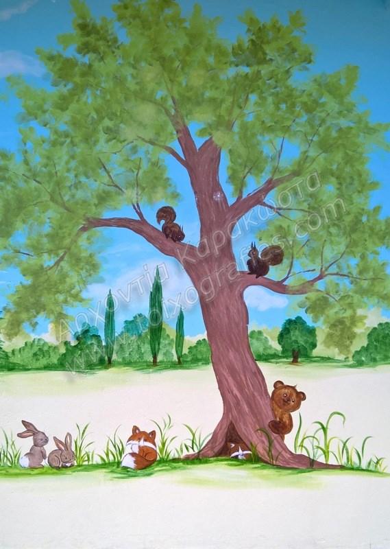 ζωγραφική παιδικών δωματίων, παιδικές τοιχογραφίες, ζωγραφική σε τοίχο, διακόσμηση παιδικού δωματίου, τοιχογραφία εξωτερικού τοίχου σχολείου