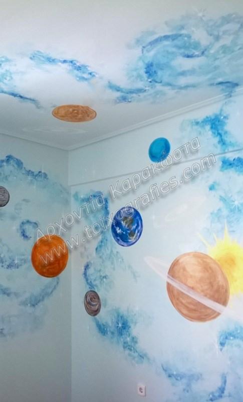 ζωγραφική παιδικών δωματίων, παιδικές τοιχογραφίες, ζωγραφική σε τοίχο, διακόσμηση παιδικού δωματίου, πλανήτες, διάστημα