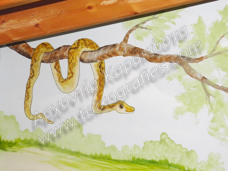 ζωγραφική παιδικών δωματίων, παιδικές τοιχογραφίες, ζωγραφική σε τοίχο, διακόσμηση παιδικού δωματίου, ζώα της ζούγκλας
