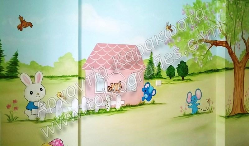 ζωγραφική παιδικών δωματίων, παιδικές τοιχογραφίες, ζωγραφική σε τοίχο, διακόσμηση παιδικού δωματίου, my melody, ζωάκια