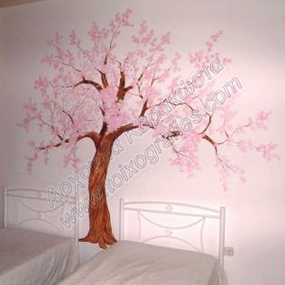 ζωγραφική παιδικού δωματίου, δεντράκι παιδική τοιχογραφία, ζωγραφική σε τοίχο, διακόσμηση παιδικού δωματίου