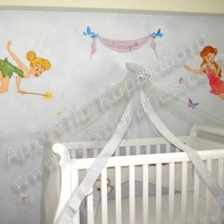 Ζωγραφική παιδικού δωματίου νεράιδες παιδική τοιχογραφία