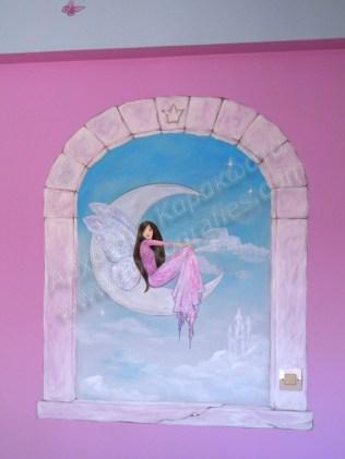 Ζωγραφική παιδικού δωματίου παράθυρο με νεράιδα