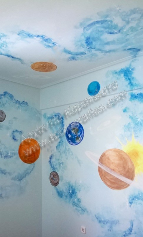 Ζωγραφική παιδικού δωματίου ουρανός διάστημα πλανήτες παιδική τοιχογραφία