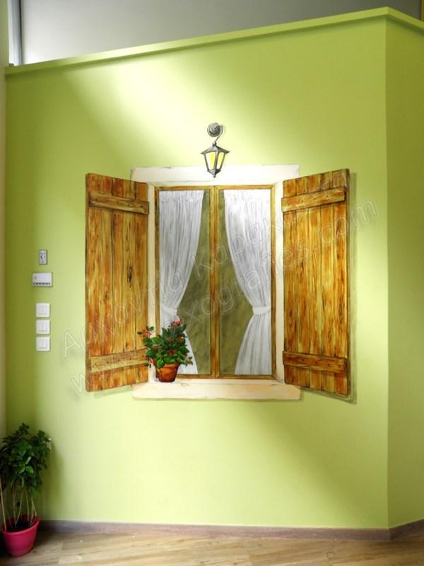 τοιχογραφίες, ζωγραφική σε τοίχο, ζωγραφική παιδικών δωματίων, ζωγραφική παράθυρο