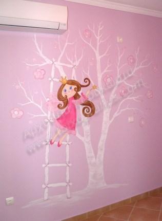 Ζωγραφική παιδικού δωματίου δεντράκι λευκό