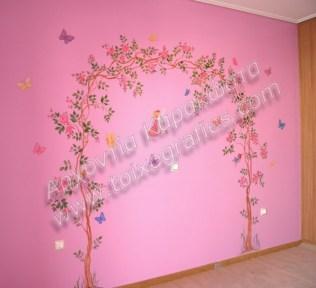Ζωγραφική παιδικού δωματίου λουλούδια και νεράιδες παιδική τοιχογραφία