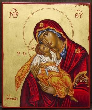 αγιογραφία, Παναγία, θεοτόκος, γλυκοφιλούσα, αυγοτέμπερα και φύλλο χρυσού σε ξύλο, βυζαντινές εικόνες
