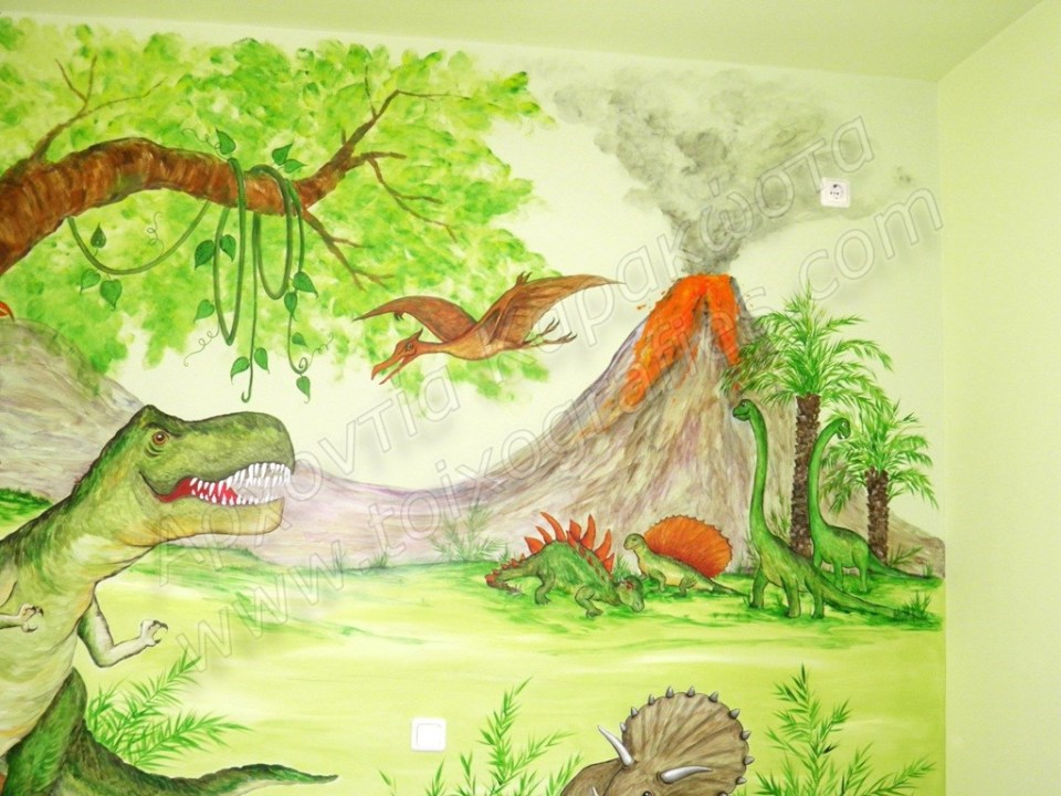 ζωγραφική παιδικού δωματίου, παιδική τοιχογραφία δεινόσαυροι