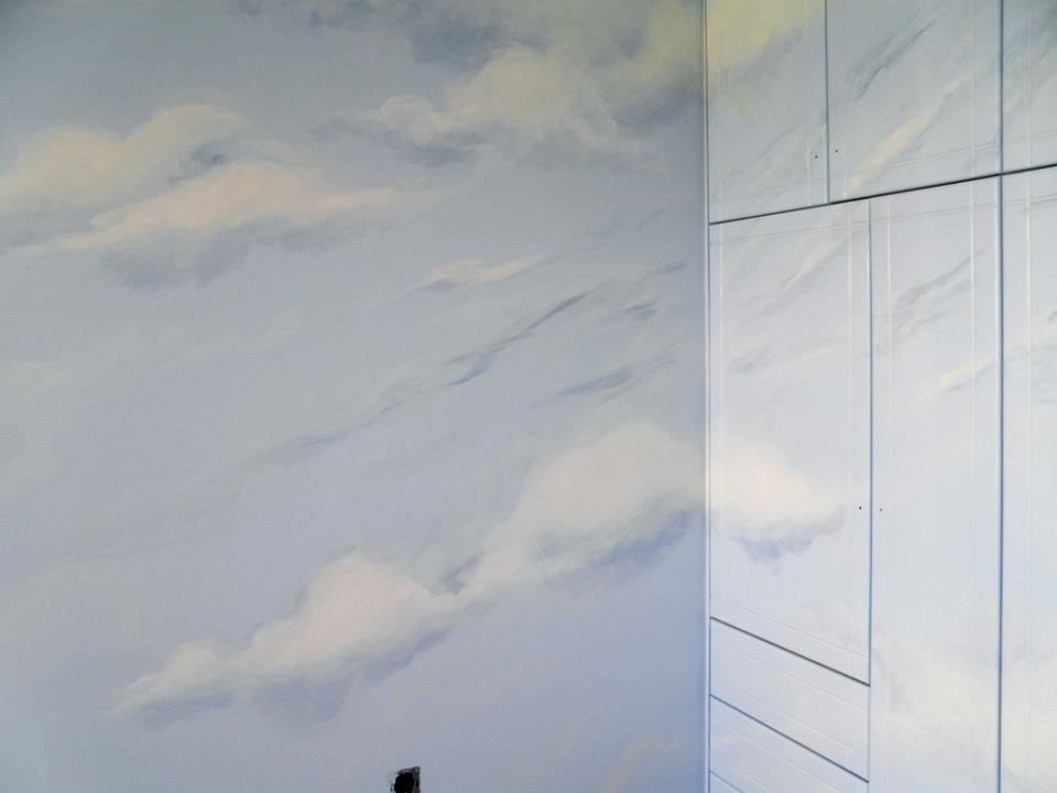 ζωγραφική παιδικού δωματίου, παιδική τοιχογραφία ουρανός