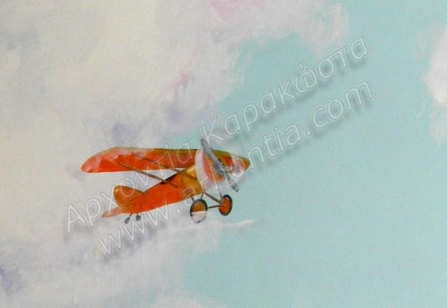 ζωγραφική παιδικού δωματίου, παιδική τοιχογραφία ουρανός αεροπλανάκια αερόστατα