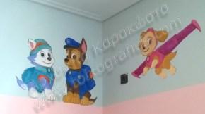 ζωγραφική παιδικού δωματίου, παιδική τοιχογραφία σκυλάκια paw patrol