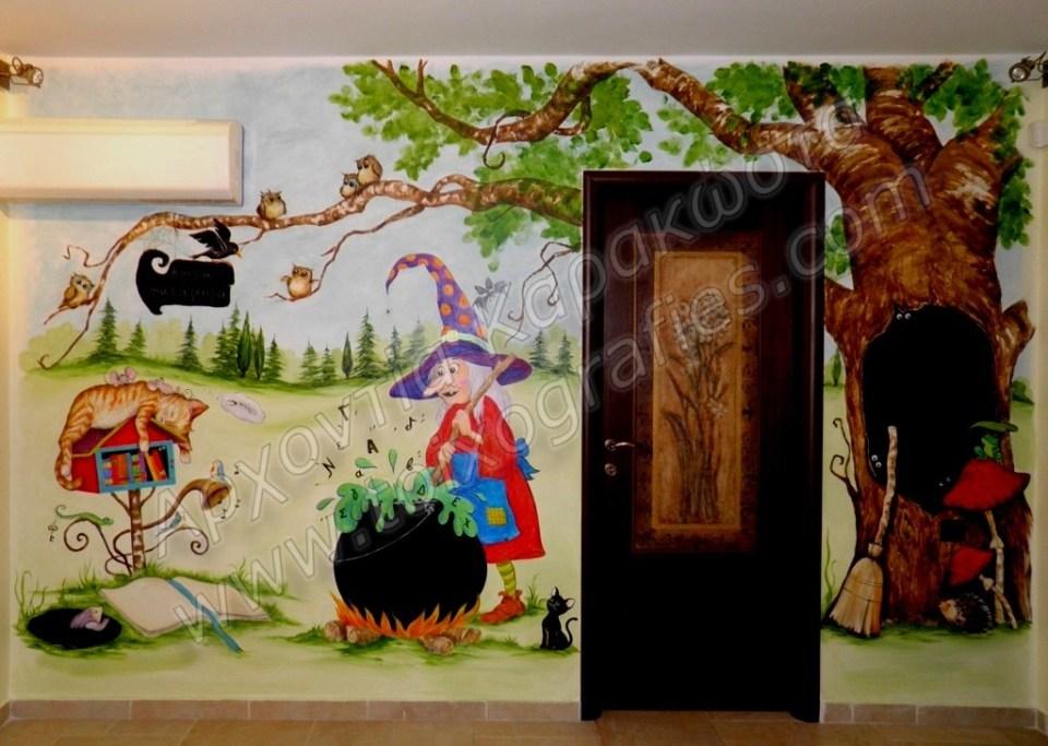 ο μαγικός κόσμος των παραμυθιών ζωγραφική παιδικού δωματίου τοιχογραφία