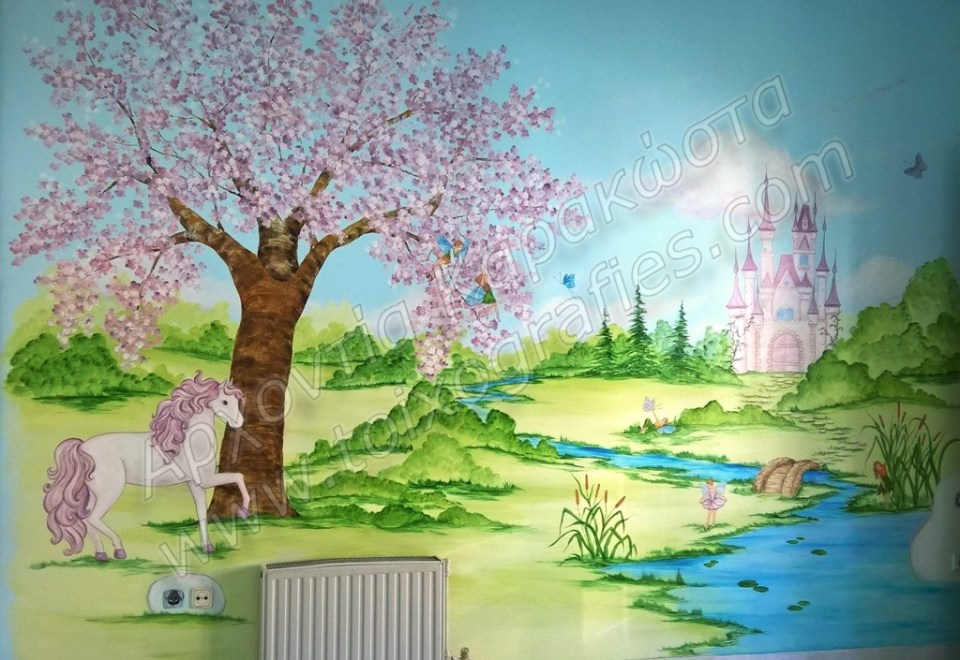 Παραμυθένιο παιδικό δωμάτιο περιμένει το μωράκι που έρχεται!  Ένα μαγικό τοπίο με ανθισμένη αμυγδαλιά, γεφυράκι στο ποτάμι, πριγκιπικό κάστρο, νεραϊδούλες και νεραϊδάκια, και άλογο φυσικά λευκό!