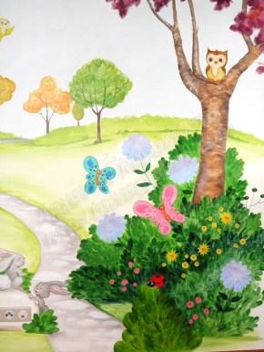ζωγραφική σε τοίχο παιδικού δωματίου με χαρούμενα χρώματα.