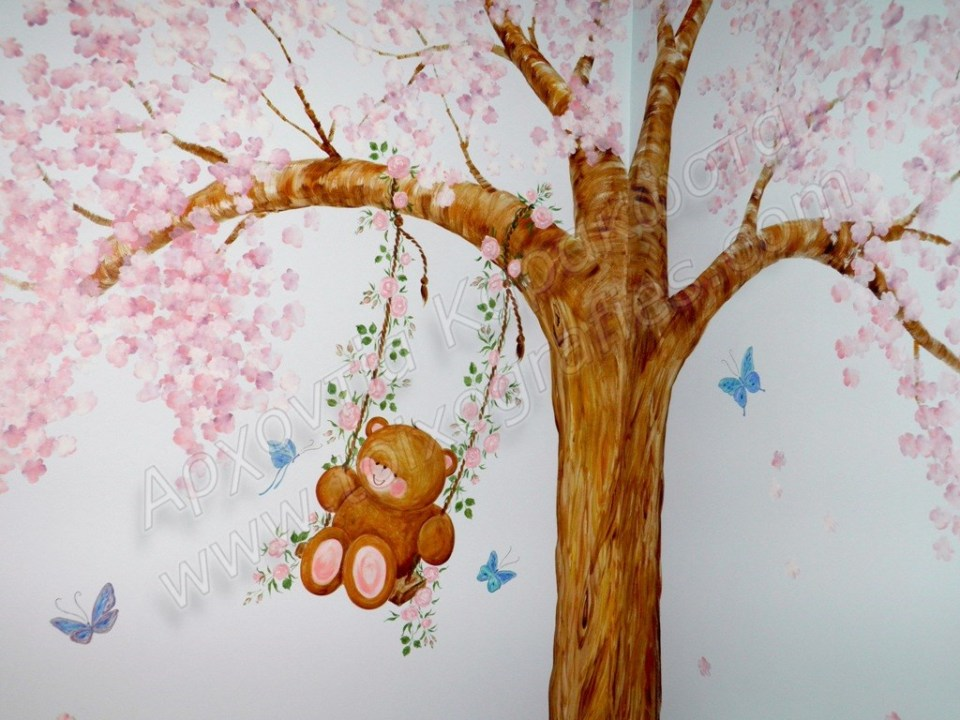 παιδική τοιχογραφία ουρανός αμυγδαλιά αρκουδάκι, ζωγραφική παιδικών δωματίων