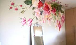 Τοιχογραφία λουλούδια