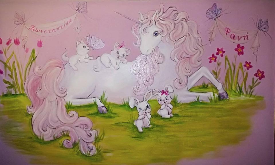 Ζωγραφική παιδικού δωματίου, παιδική τοιχογραφία, μονόκερος