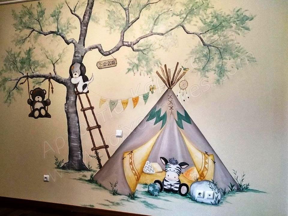 ζωγραφική παιδικών δωματίων, τοιχογραφίες, τεχνοτροπίες, ταπετσαρίες τοίχου