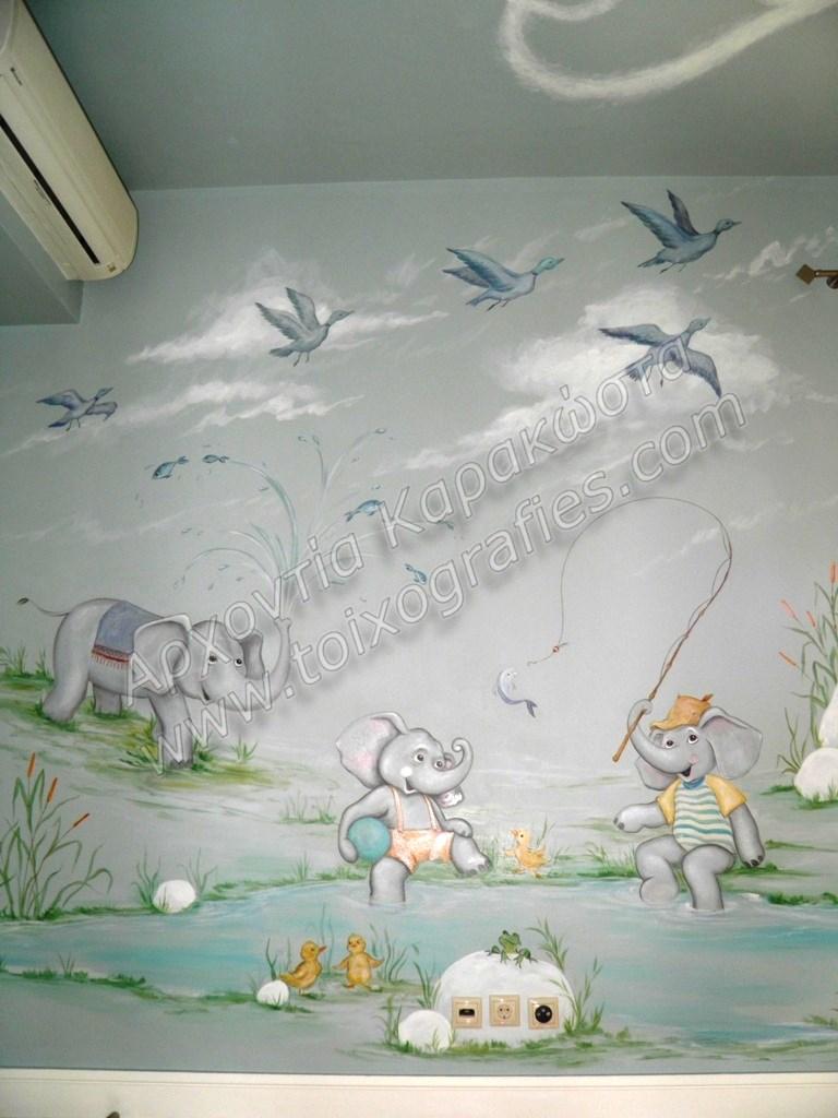 ζωγραφική παιδικού δωματίου, τοιχογραφίες