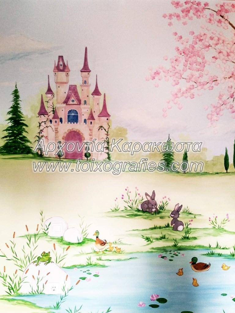 ζωγραφική παιδικού δωματίου παραμυθένιο τοπίο κάστρο